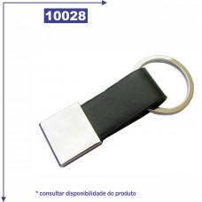 Chaveiro de metal com detalhe em couro sintético 10028