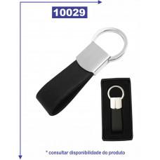 Chaveiro de metal brilhante com detalhe de couro sintético 10029