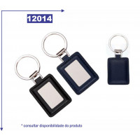 Chaveiro de metal, detalhe de couro sintético 12014