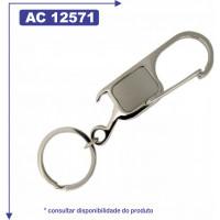 Chaveiro de metal personalizado, com mosquetão e abridor 12571